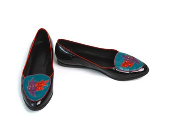 Black Patent Leather Flats with Leaf Design by Cobbie Shoes