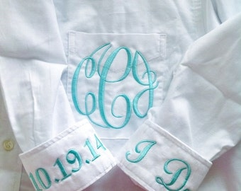 Personalized Monogrammed Bridal Shirt For Wedding Day