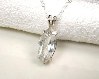 1+ Art Deco Sterling Silver Rhinestone Simple Bridesmaid Pendant Necklace, Minimal Crystal Bridal Necklace, Vintage Wedding Gift Jewelry Set