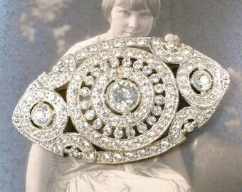 1920s Hair Comb OR Sash Brooch Edwardian/Art Deco Vintage Clear Pave Rhinestone Wedding Pin or Bridal HeadPiece Antique Gatsby Downton Abbey