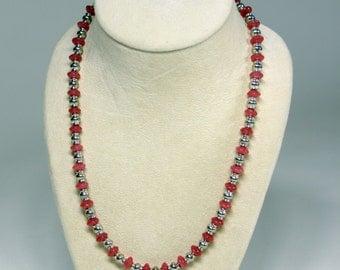 Cherry Quartz & Pewter Necklace