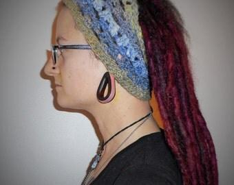 Grey Purple Green Noro Iro Striped Wool Silk Headband Dreadband