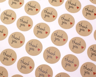 63 THANK YOU labels with red hearts - Kraft brown or white thank you stickers - 1 inch round - envelope seals, favor stickers, weddings