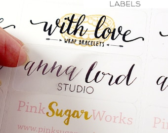 Custom print Logo labels - 2 5/8 x 1 custom address labels -clear, kraft, or white logo stickers for packaging, wedding favors