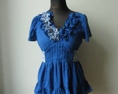 RESERVED Vneck Ruffle Blouse, Upcycled Blue Shirt, Eco Fashion, Country Chic Clothing, Tie Back Summer Top, Short Sleeve Empire Waist Top
