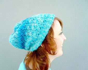 Turquoise Slouchy Beanie, Hand Knitted Womens Beanie, Ice Blue Ombre Beanie, Cable Braid Knitwear, Double Brim Beanie, Warm Winter Beanie