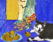 Henri Matisse Cat Deluxe Handmade Greeting Card, Still Life, Blank Note Card, Designer Artwork by Deborah Julian
