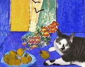 Henri Matisse Cat Deluxe Handmade Greeting Card, Still Life, Blank Note Card, Designer Artwork by Deborah Julian