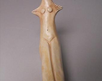Ceramic sculpture, fertility goddess, venus, mother earth statue
