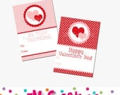 Printable Heart Valentines Day Card - School Valentines Day Card - Valentines Day Printables - Heart Valentines Day Card - Pink Red