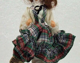 Vintage Bradley Doll With Original Tag Scottish Girl on Stand Plaid Dress ATCTTEAM Bradlee TNTEAM