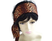 Ombre Leopard Head Scarf, Cheetah Head Scarf, Leopard Head Wrap, Warm Brown Rust Leopard Head Scarf
