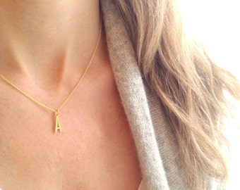 Gold Initial Necklace - Gold Letter Necklace - Personalized Necklace - Vermeil Necklace - 14k Gold Filled - Initial Charm - Initial Pendant
