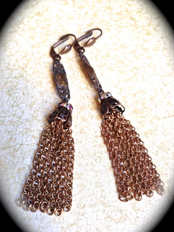 Boho tassel earrings-Rose Gold colored Earrings great for Coachella