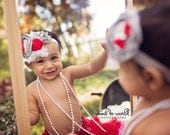 Callie's Valentine-- red, silver and grey rosette, chiffon and singed satin headband with tulle, feather and bow accents