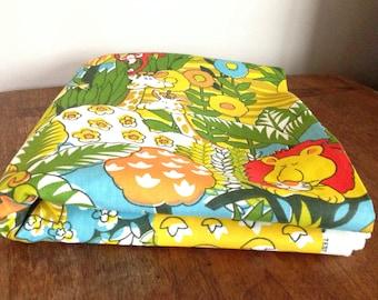 3 Panel Curtain Set MCM Childrens Jungle Mid Century Nursery Monkey Screenprinted Twill Hippo Zebra House & Home Fabrics