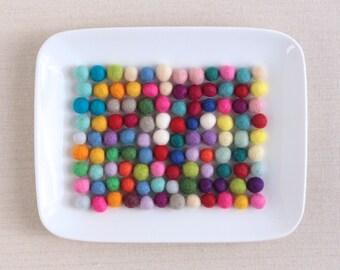 Felt Balls 1cm // Extra Small Felt Balls // Pom Poms, Felt Beads, Wool Felt Balls, Felted Balls, Tiny Felt Balls, Felt Ball Garland DIY