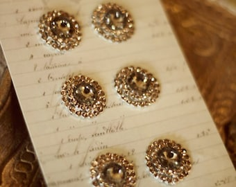 Champagne rhinestone vintage inspired buttons - set of 6