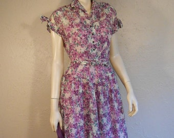 A Pocket Full of Violets - Early 1950s Sheer Rayon Violet Coloured Floral Bouquet Day Dress -