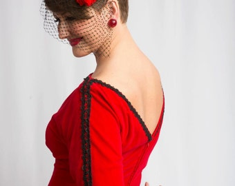 Belle of the Ball - Vintage 1950s Lipstick Red Velveteen Cocktail Dress w/Spanish Black Brocade - 8/10