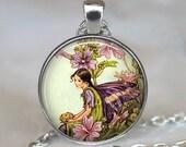 Mallow Fairy pendant , fairy jewelry, fairy jewellery, fairy necklace charm, antique fairy illustration, fairy jewellery, key chain key fob