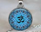 Blue Om pendant, Om necklace, yoga pendant, yoga jewelry, yoga necklace, meditation pendant, Om jewellery, Om keychain key chain