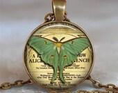 Luna Moth pendant, Luna moth necklace, Luna moth jewelry, night butterfly jewelry symbolic jewelry, keychain key chain