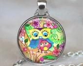 Garden Owls pendant, Mother and baby owl, owl jewelry owl jewellery, Mother's Day gift, cute owls keychain key fob