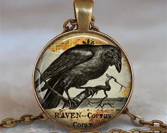 Raven Goth pendant, raven pendant, Halloween jewelry, raven jewelry, Samhain blackbird raven necklace keychain key chain key fob