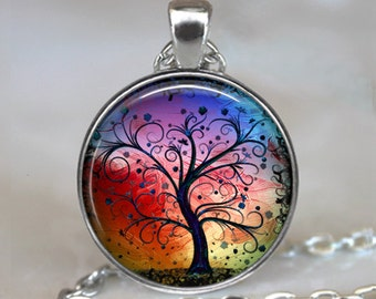 Rainbow Tree of Life pendant, colorful tree pendant, tree of life jewelry tree of life necklace, rainbow tree pendant keychain key chain