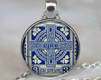 Ireland Stamp pendant, Ireland pendant, Celtic Cross pendant, Celtic jewelry, Ireland memento jewelry Ireland keychain Celtic keychain