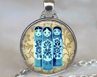 Blue Babushkas pendant, matroyshkas pendant, Russian folk doll necklace, matroyshka necklace, babushka necklace