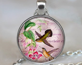 Hummingbird Collage pendant,  Hummingbird jewelry, Hummingbird necklace bird lover gift pink hummingbirds keychain
