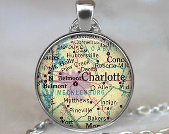 Charlotte, North Carolina map pendant ,Charlotte NC map necklace Charlotte map pendant, map keychain map key chain