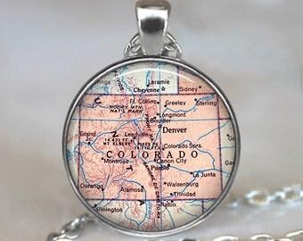 Colorado map pendant, Colorado necklace Colorado state map pendant map jewelry map necklace Rocky Mountains key chain key ring