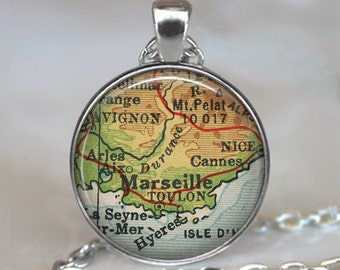 Marseille map necklace, Marseille France pendant, vintage map jewelry, Cannes map pendant, Marseille pendant key fob