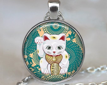 Teal Maneki Neko necklace, Maneki Neko pendant, Japanese Lucky Cat necklace charm, Lucky Cat jewelry, Maneki Neko keychain
