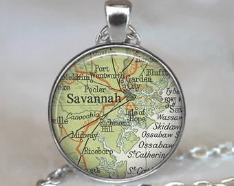 Savannah, Georgia map pendant, Savannah map necklace, Savannah necklace, Savannah pendant, map jewelry keychain key chain