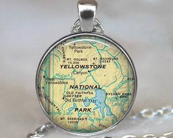 Yellowstone National Park map necklace, Yellowstone map necklace, Yellowstone map pendant, map jewelry keychain