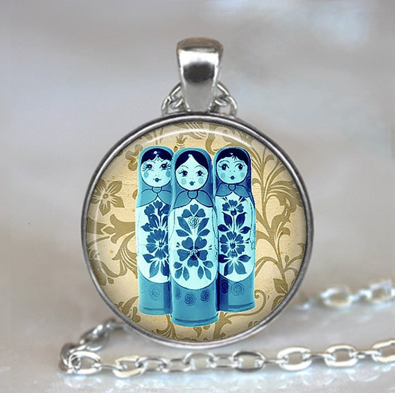 Blue Babushkas pendant, matroyshkas pendant, Russian folk doll necklace, matroyshka necklace, babushka necklace