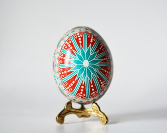 Turquoise and red pysanka, Ukrainian Easter eggs,Easter tree ornament,unique handmade gift that can be personalized,how to make pysanky eggs