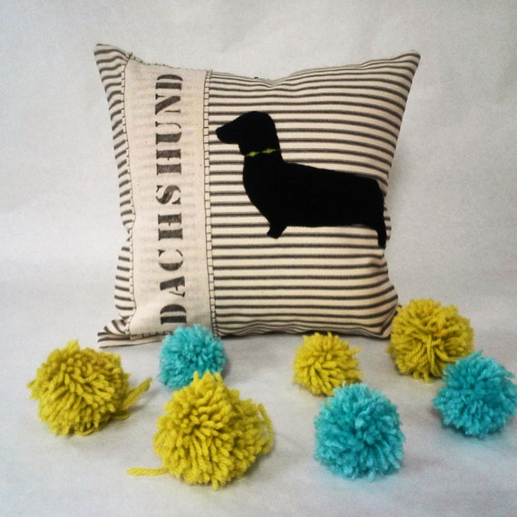 Dachshund Hand Cut Eco Friendly Felt Silhouette Pillow Cover - Decorative throw pillow cushion cover