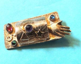 Sterling Silver 14KGF Talisman Brooch Pin Ann Allen Jewelry Mary Winstead Designer Jewelry