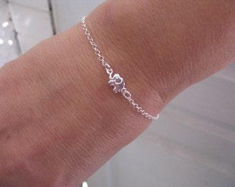 Elephant Bracelet, Sterling Silver Elephant Charm Bracelet on Dainty Chain, Lucky Jewelry, Elephant Jewelry