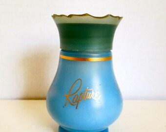 Vintage Avon Rapture Powder Sachet, Partially Used, Blue Bottle with White Doves