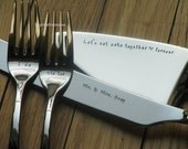 4 piece Wedding cake serving set - server, knife and forks - personalized and hand stamped for the bride and groom
