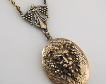 Locket Necklace - Wine Jewelry - god Bacchus  - Green Man Necklace - Vintage Brass jewelry - handmade jewelry