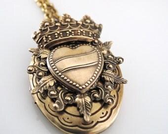 Vintage Locket Necklace - Heart Necklace - Crown Necklace - Statement Necklace - Brass Necklace -  handmade jewelry