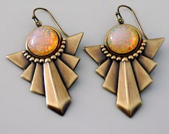 Vintage Earrings - Art Deco Earrings - Opal glass Earrings - Brass Jewelry - Chevron Earrings - handmade earrings