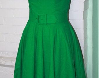 1950s Rockabilly Pinup- 'Suddenly Summer' Linen Dress-Wedding Guest-Custom Made